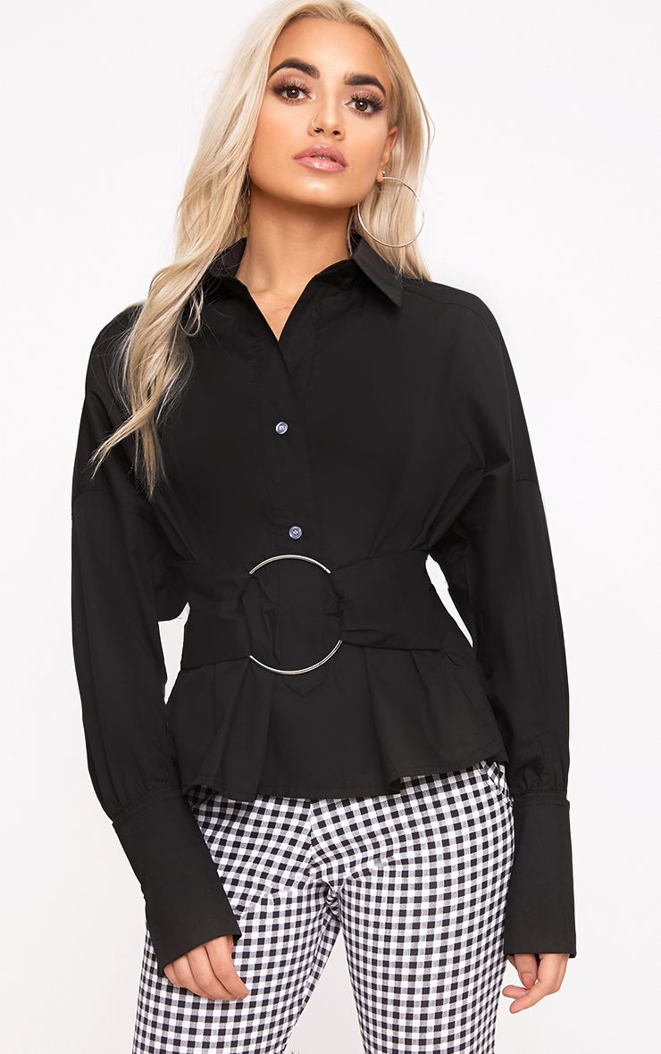 Black O Belt Detail Oversized Shirt