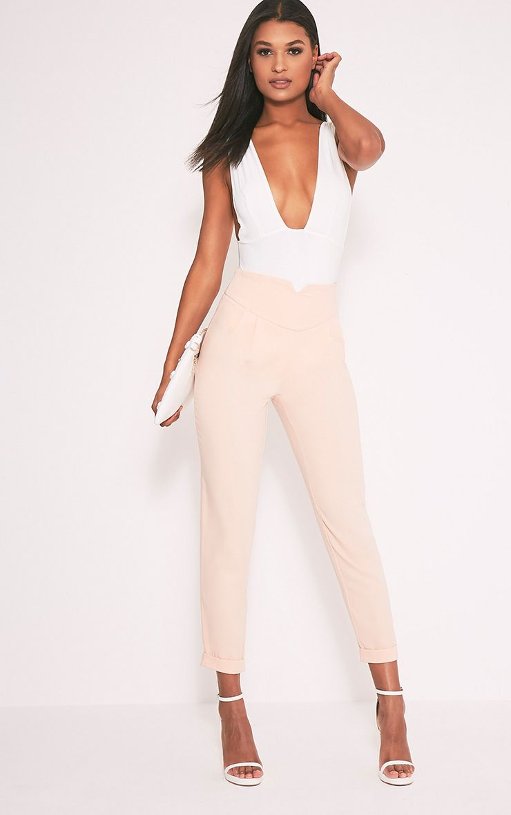 Elenor Nude High Waisted Tapered Trousers 1