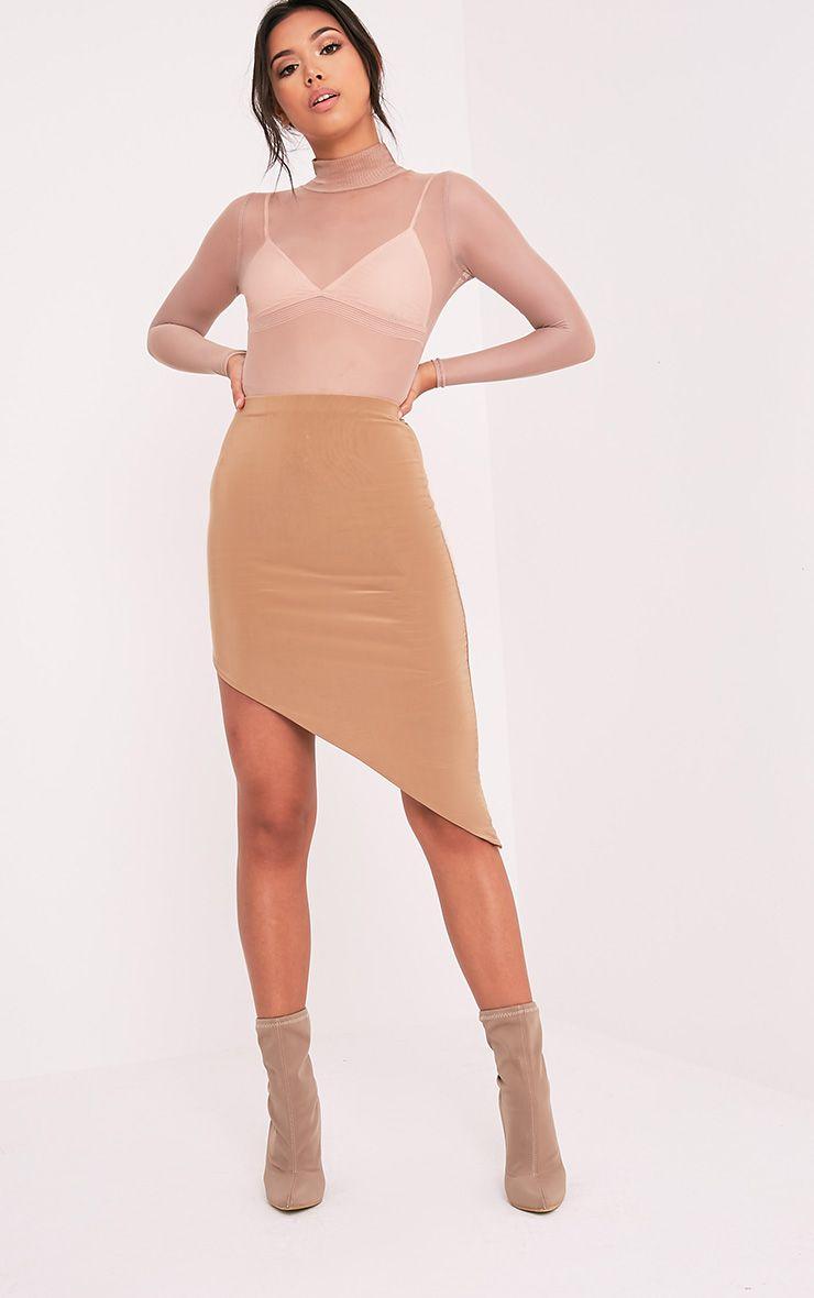 Sereena Camel Asymmetric Slinky Midi Skirt 1