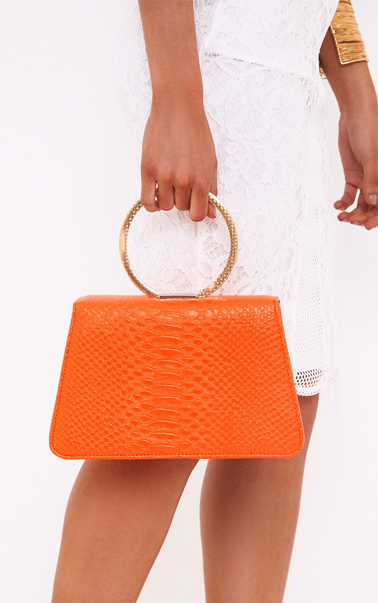 Orange Reptile Ring Handle Bag