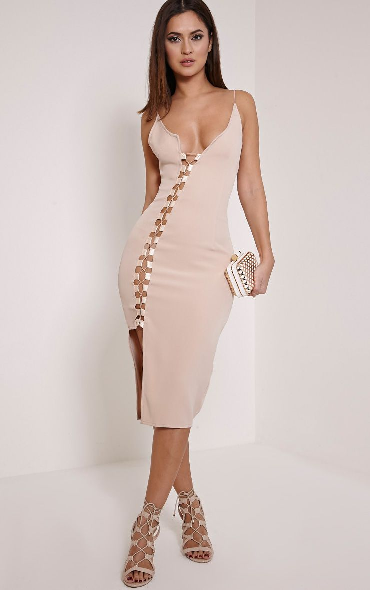 Lovina Nude Lace Up Bodycon Dress