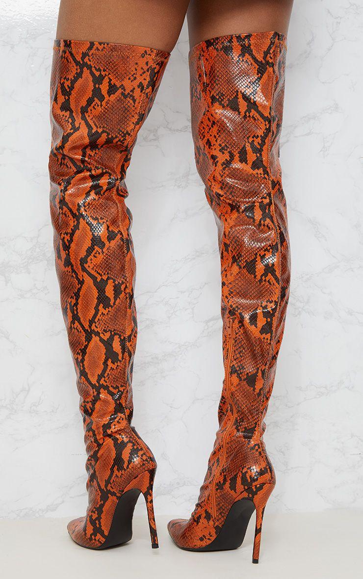 EMMA KING 2018 New Snake Print Winter Boots Women Thin