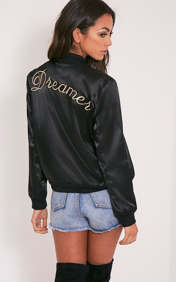 Finnie Black Satin Dreamer Bomber Jacket