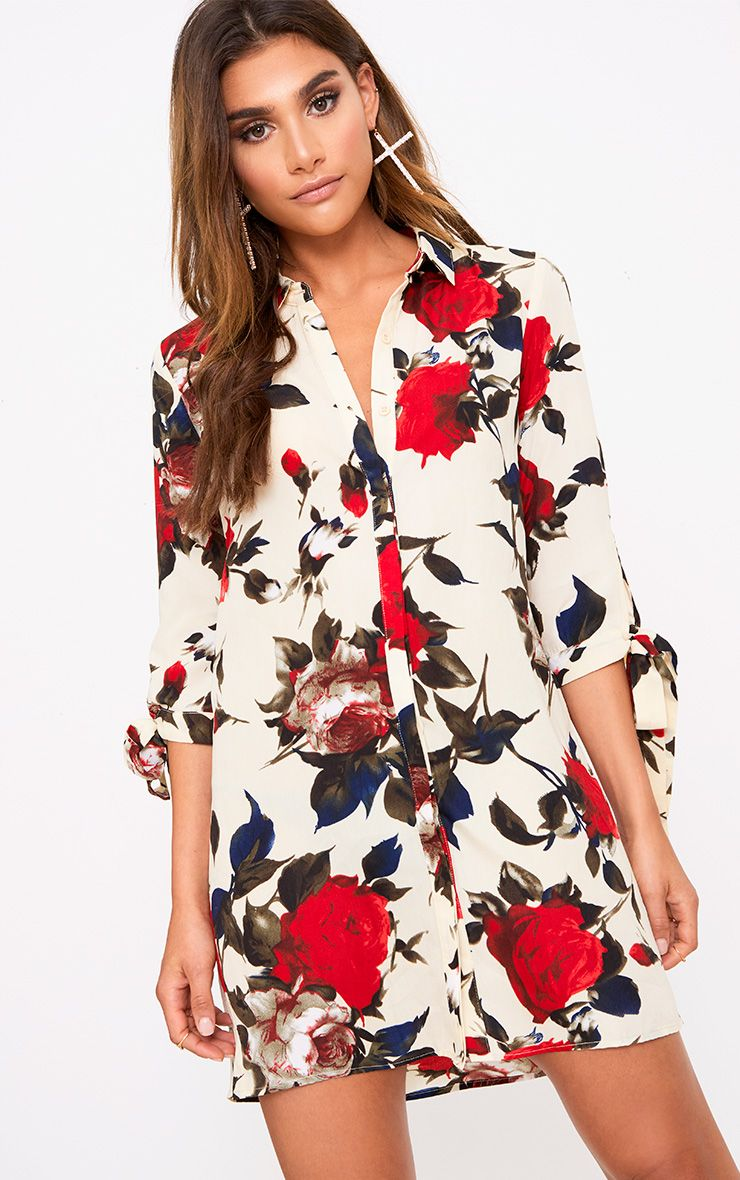 Cream Floral Tie Cuff Shirt Dress