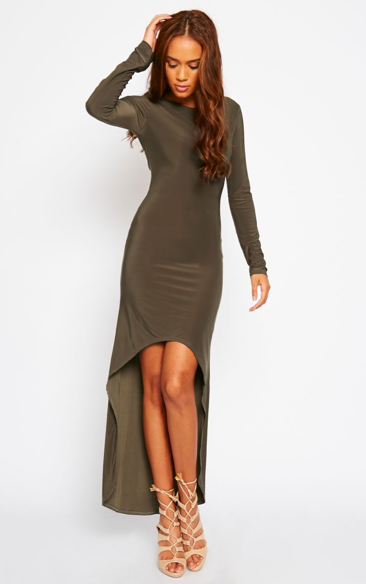 Fearne Khaki Slinky Dip Hem Dress 1
