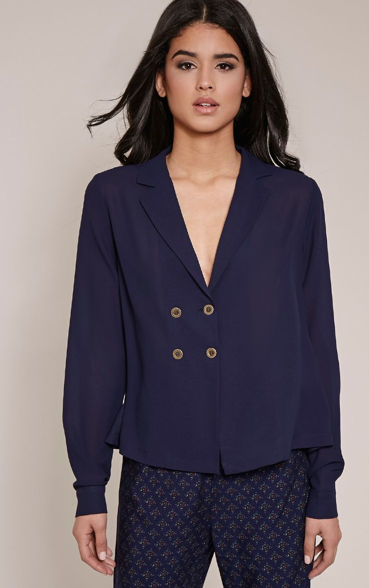 Elane Navy Open Collar Blouse 1