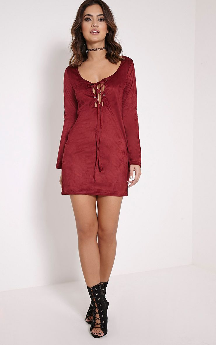 Heidi Berry Lace Up Suede Shift Dress 1