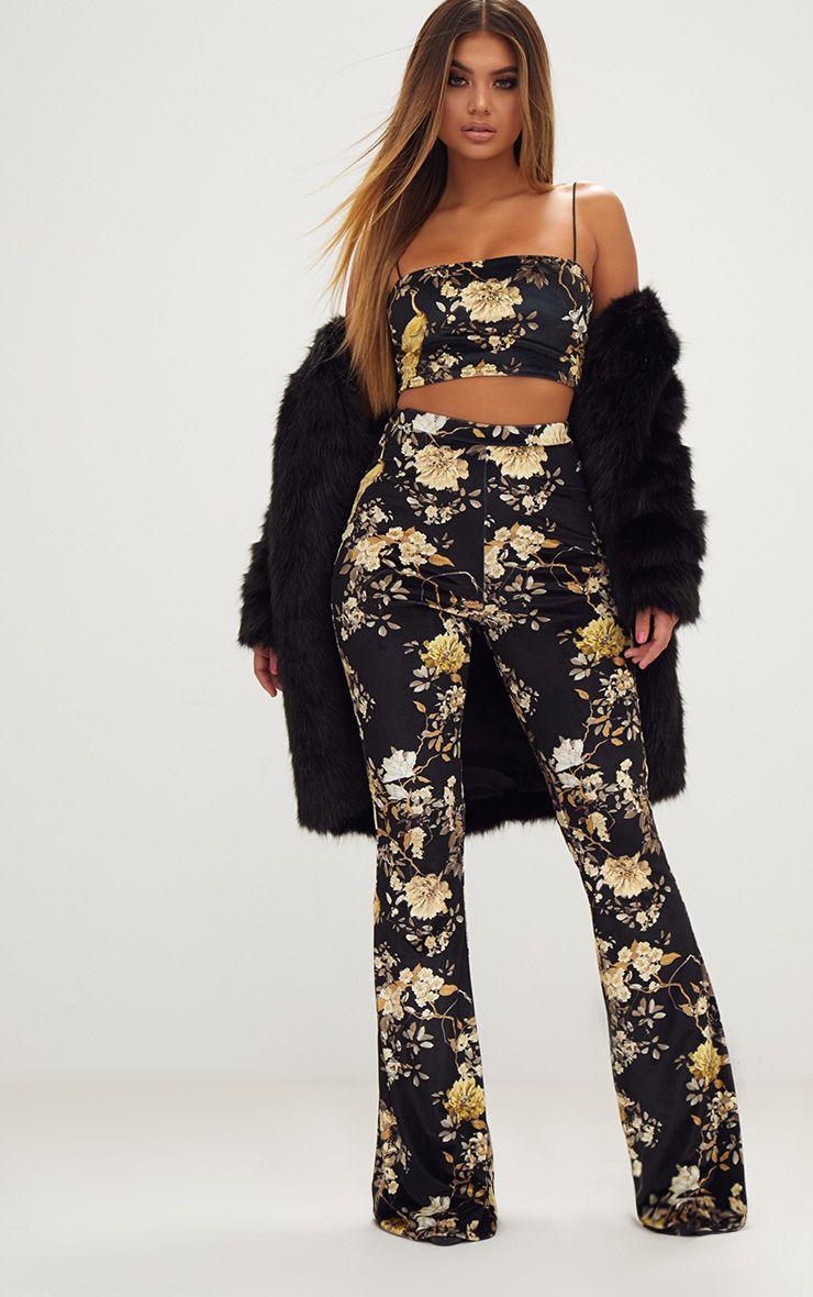 Black Floral Velvet Flared Trousers