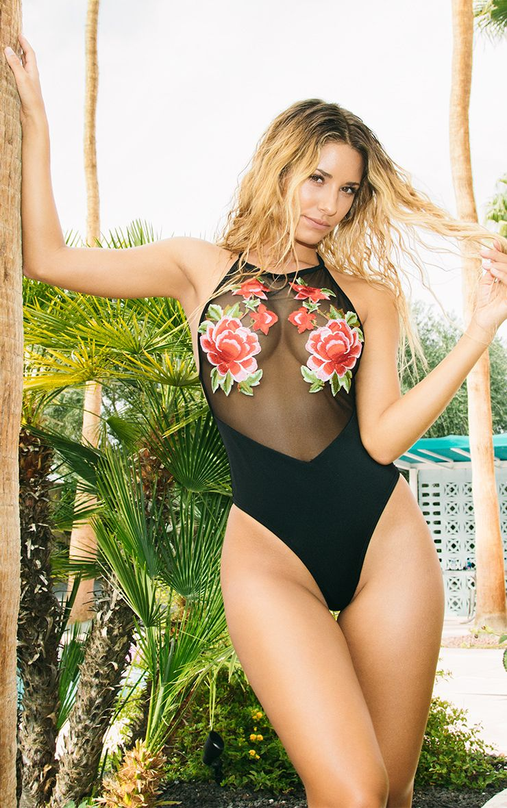 Debi Black 90's Neck Applique Swimsuit