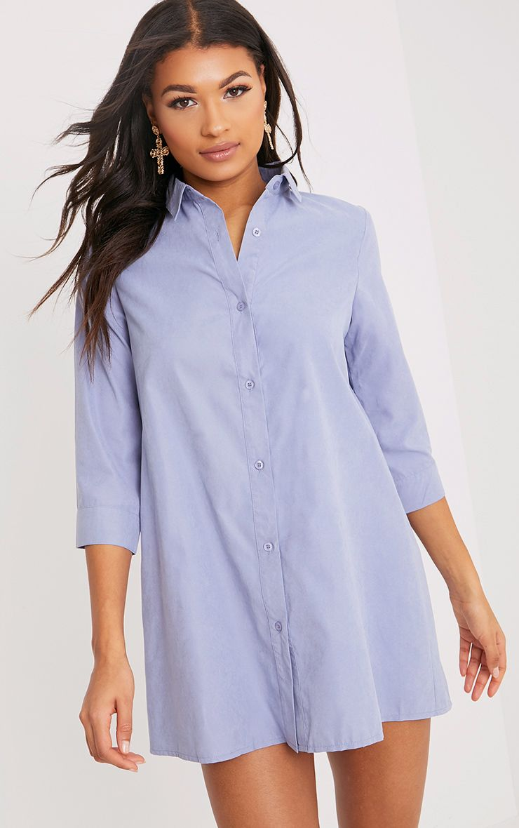 Leni Blue Shirt Dress 1