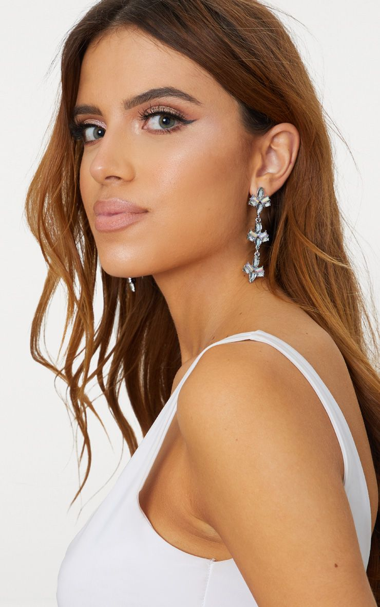 Iridescent Silver Diamante Drop Earrings