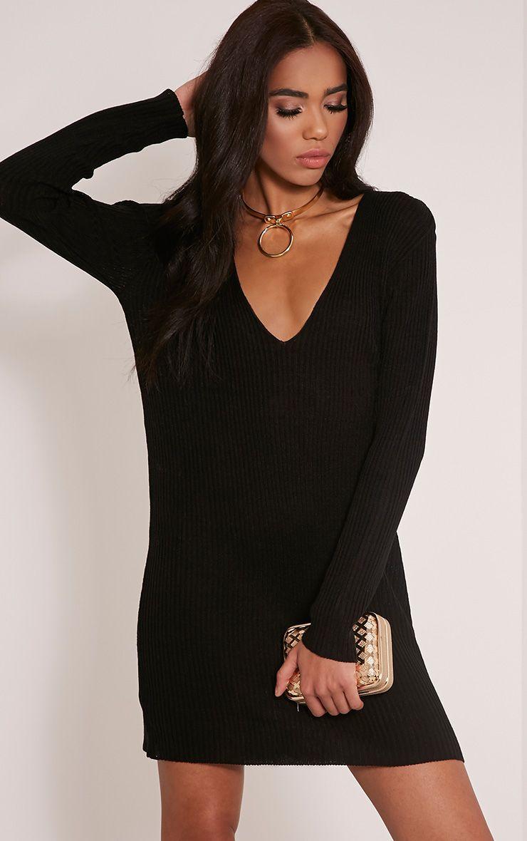 Navella Black Deep V Knitted Jumper Dress 1