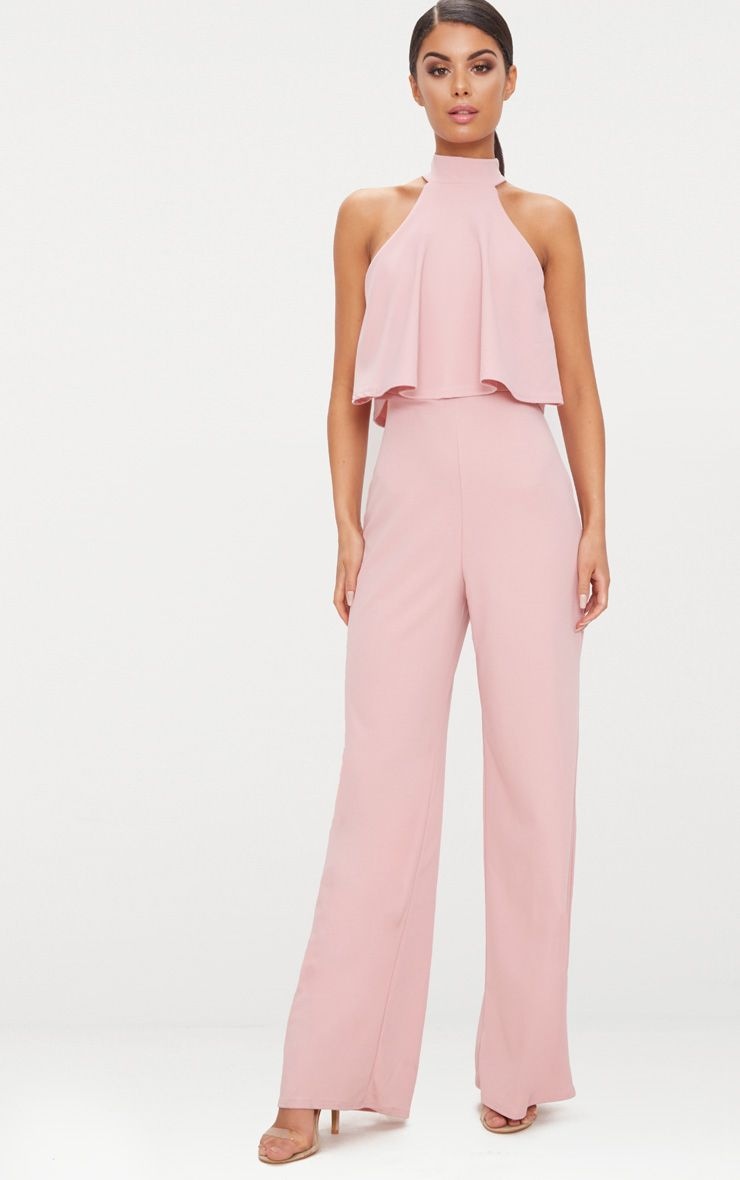 Dusty Pink High Neck Double Layer Jumpsuit