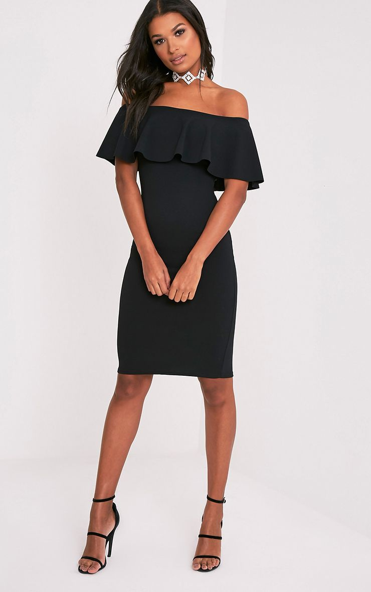 Celinea Black Bardot Frill Midi Dress