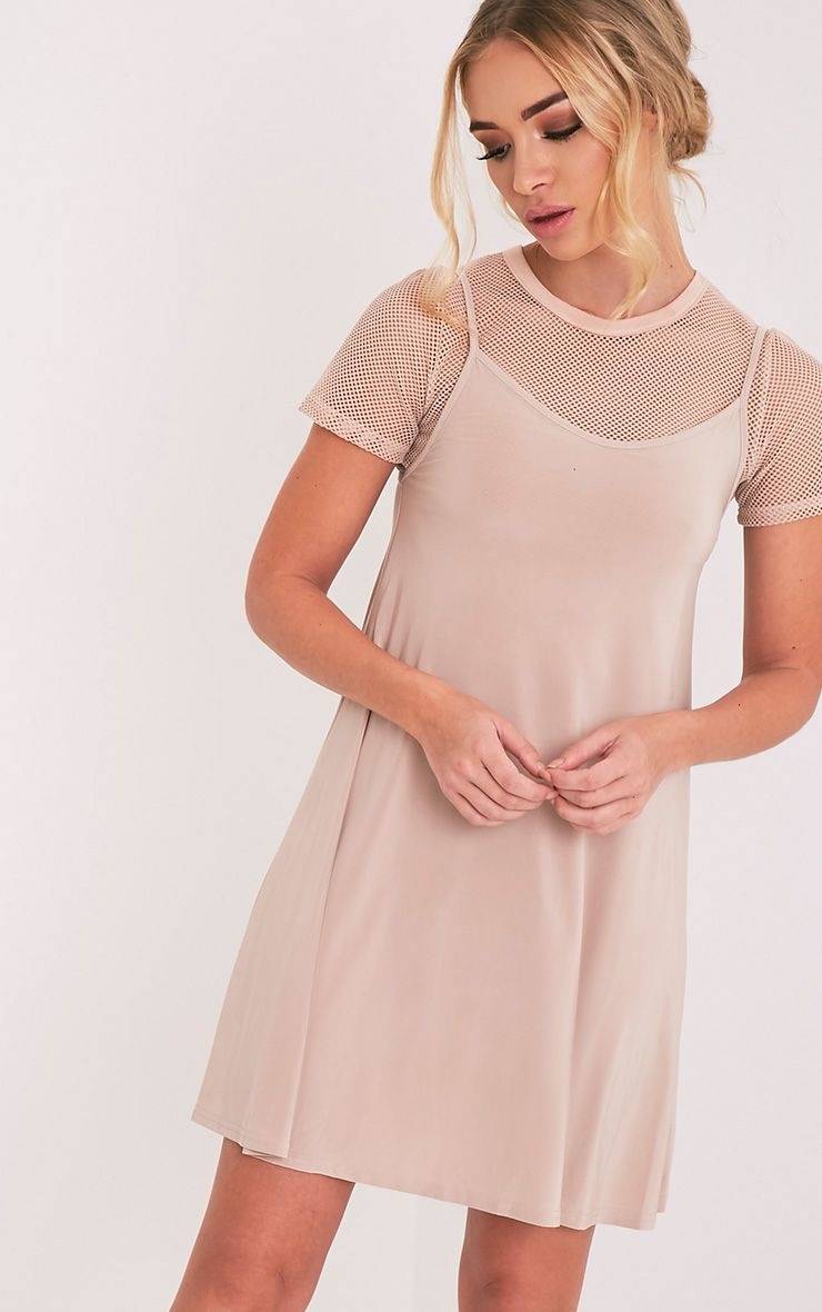 Abby Nude Slinky Swing Dress