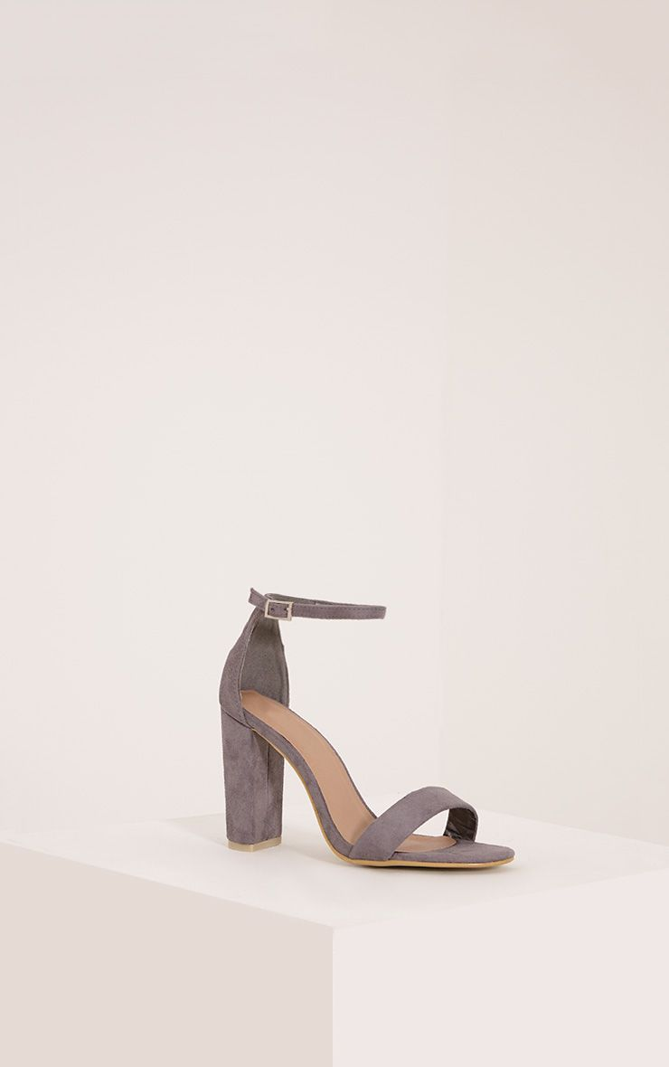 May Grey Faux Suede Block Heeled Sandals