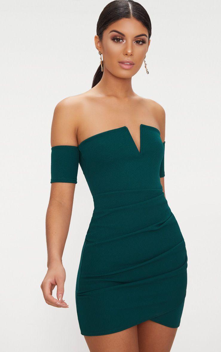 Emerald Green Bardot Wrap Front Bodycon Dress