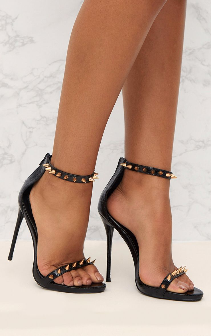 Black Stud Detail Strappy Stiletto Heels