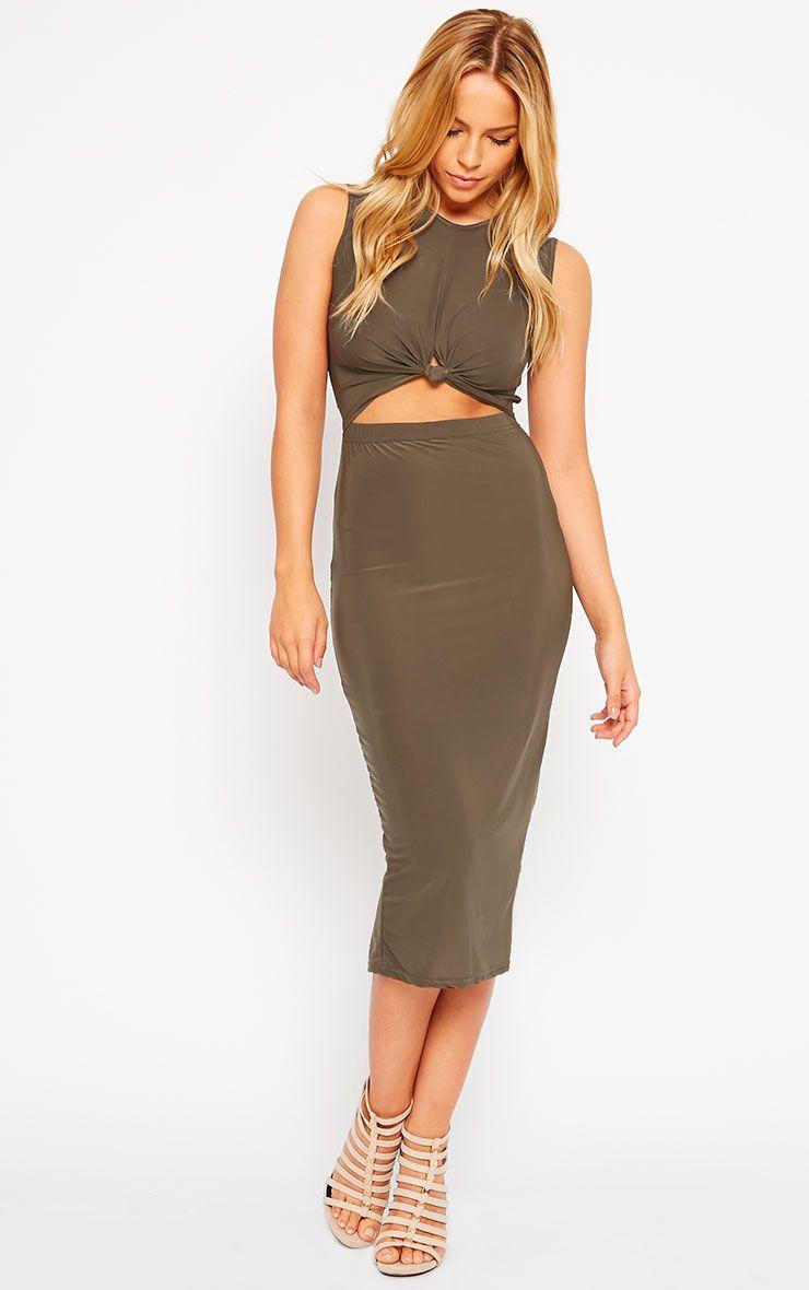 Zafia Khaki Sleeveless Midi Dress 1