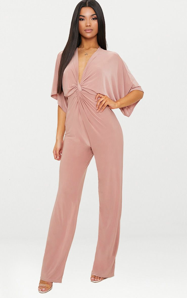 Pink Slinky Bat Wing Knot Front Jumpsuit