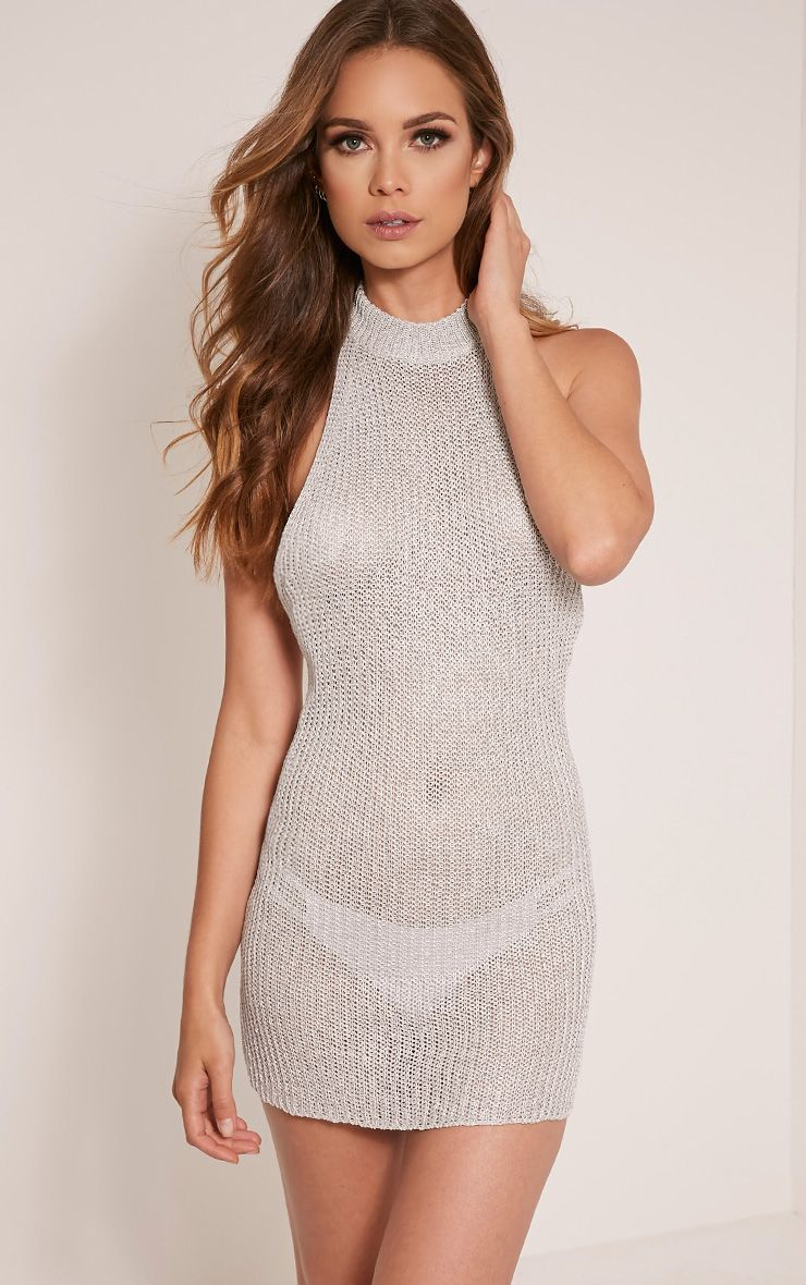 Dessa Silver High Neck Halterneck Metallic Knitted Dress