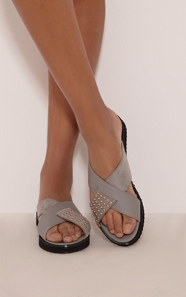 Aalia Grey Stud Detail Sliders 1