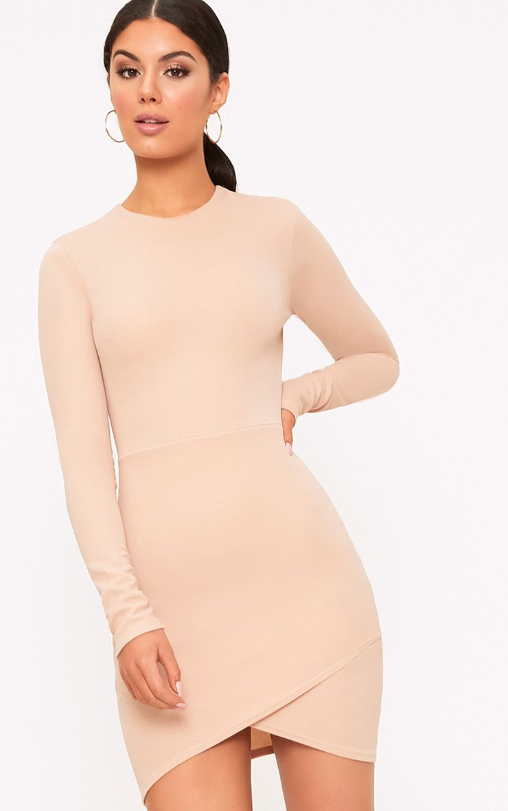 Idda Nude Long Sleeve Wrap Skirt Bodycon Dress