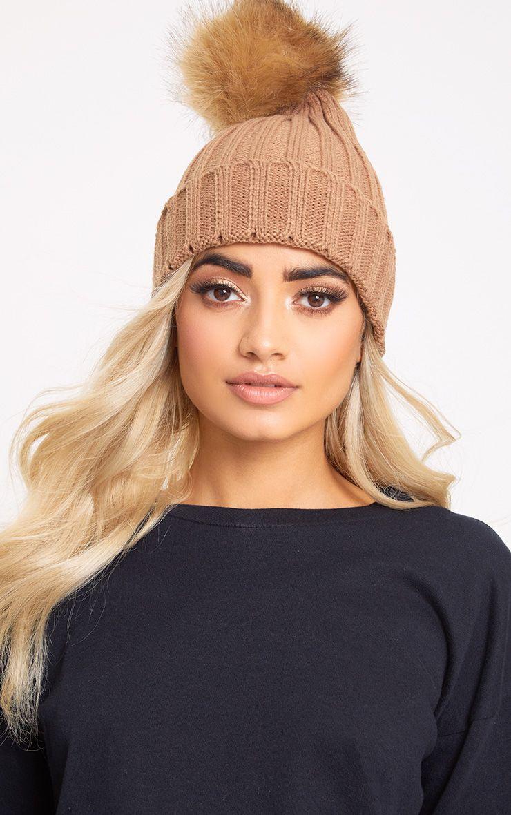 Camel Fur Pom Beanie Hat