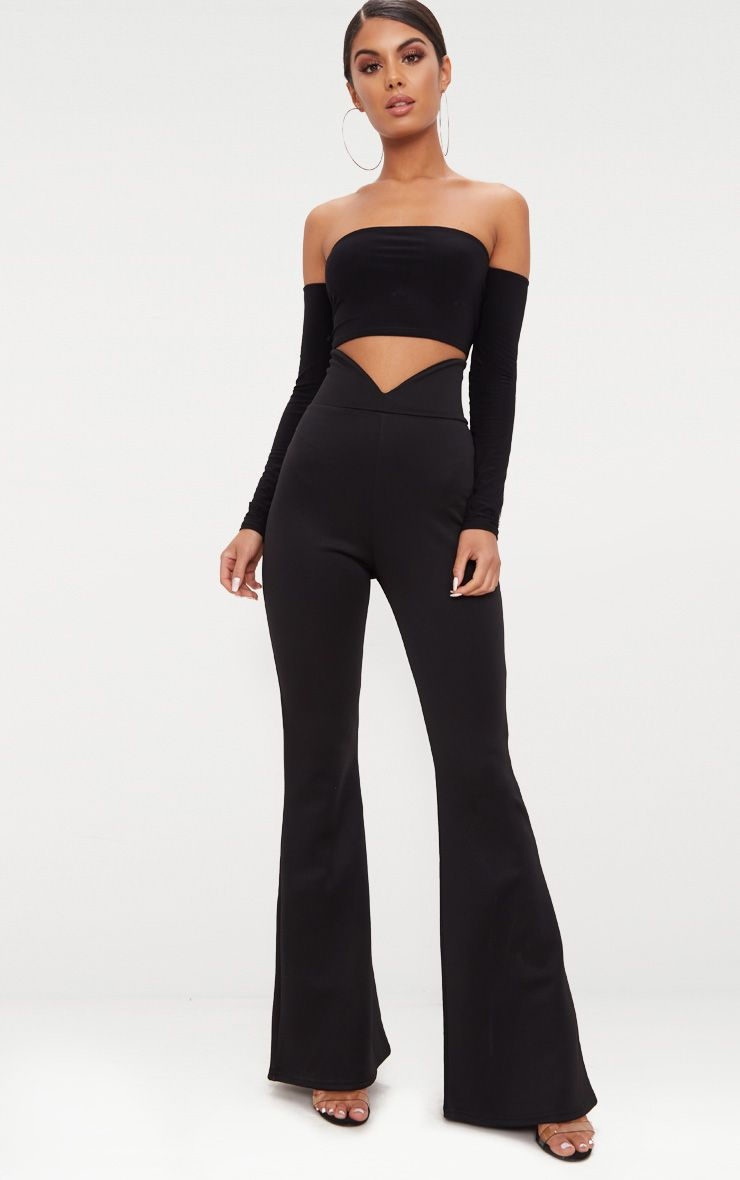 Pantalon flare en néoprène noir, taille en V