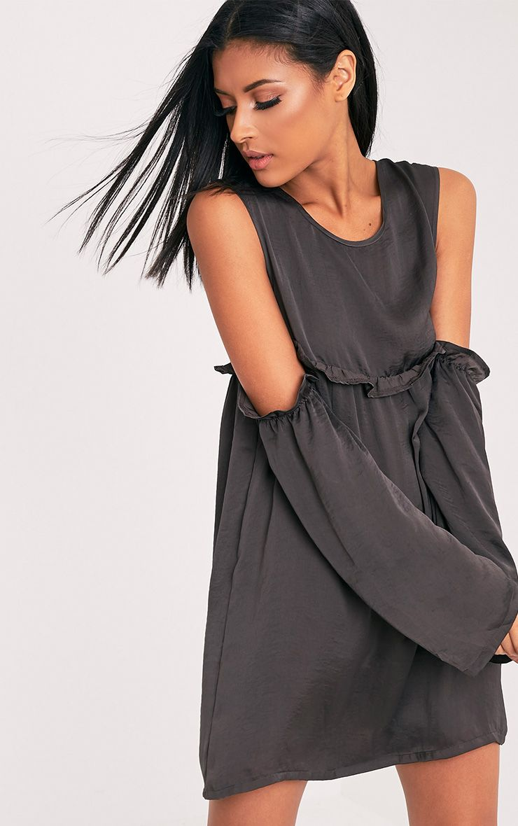 Kylissa Charcoal Cold Shoulder Satin Swing Dress