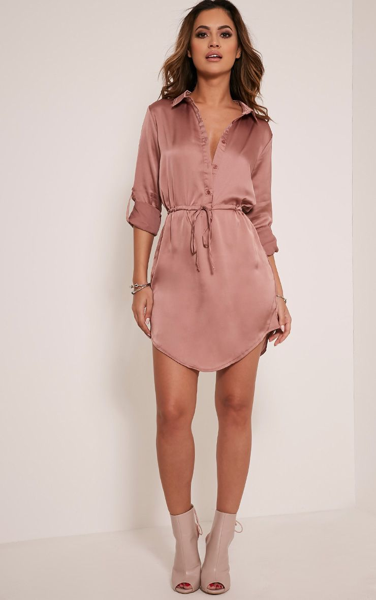 Amanda Mink Tie Waist Satin Shirt Dress