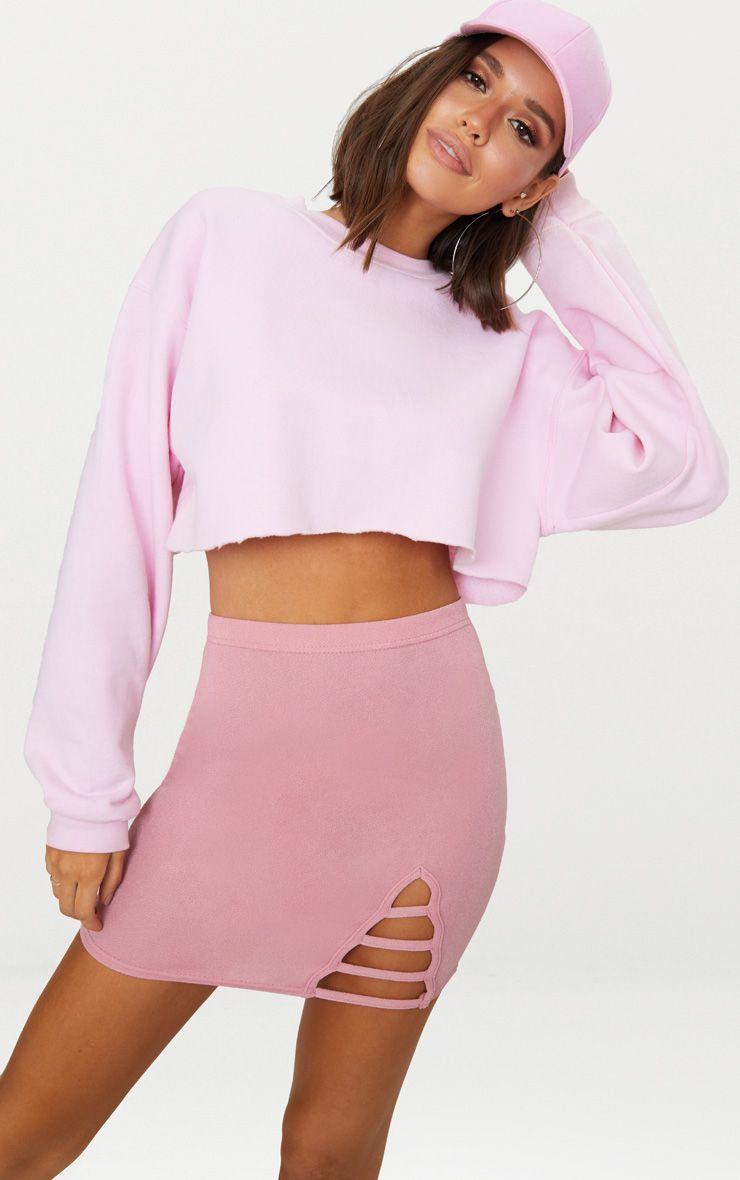 Rose Ladder Detail Mini Skirt