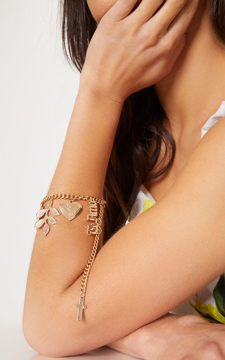 Bracelet doré à médaillon coeur Te Amo