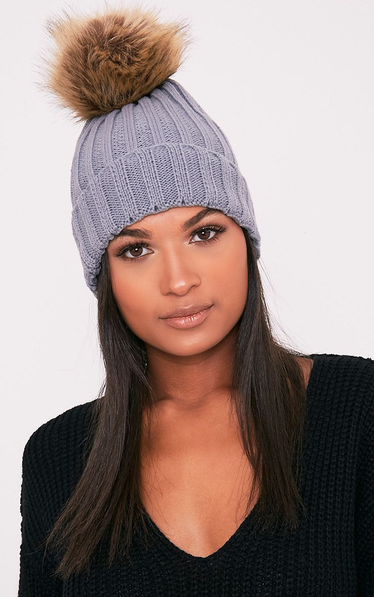 Lucille Grey Knitted Oversized Pom Pom Beanie