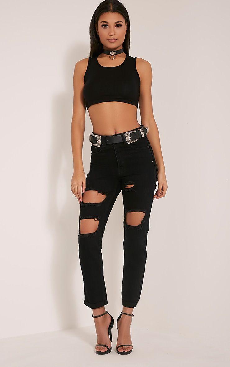 Carley Black Extreme Rip Boyfriend Jeans 1