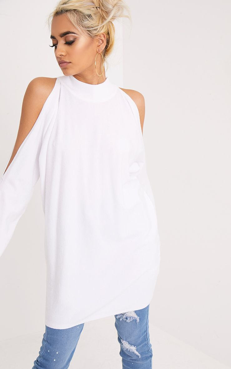 Shela White Cold Shoulder Fine Knit Jumper
