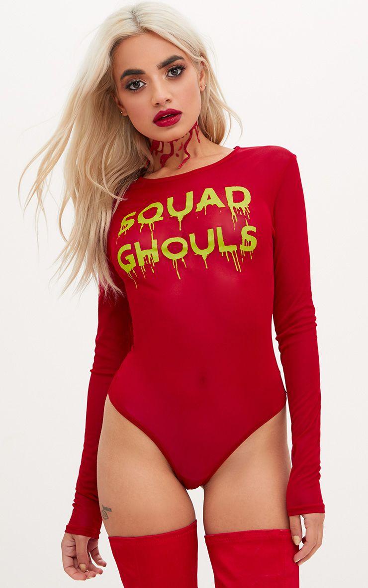 Squad Ghouls Slogan Red Mesh Longsleeve Thong Bodysuit