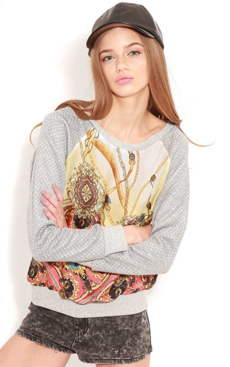 Iris Grey Quilted Jumper With Silk Print 1