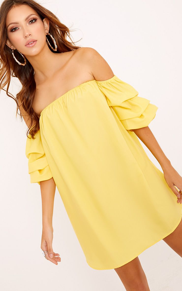 Lucinndar Cotton Ruched Bardot Sleeve Shift Dress Lemon