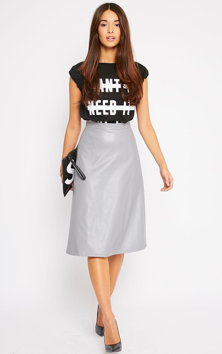 Heidi Grey Leather A Line Midi Skirt 1