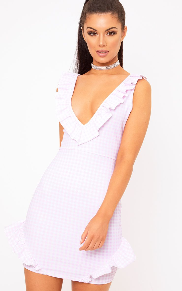 Pink Gingham Plunge Frill Detail Bodycon Dress