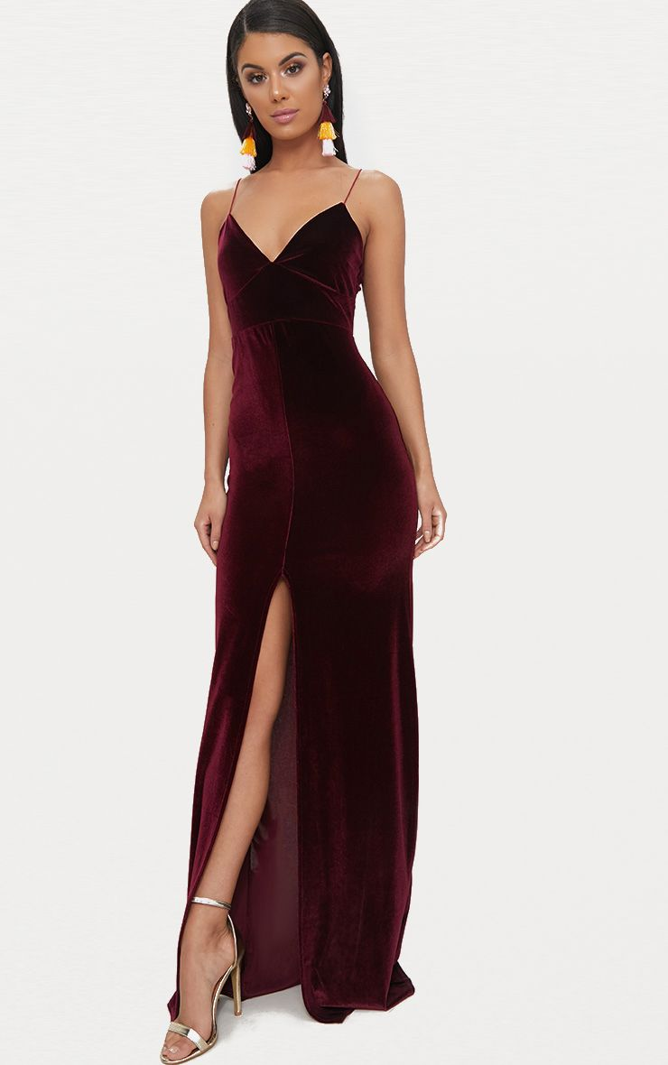 Burgundy Velvet Plunge Strappy Split Detail Maxi Dress