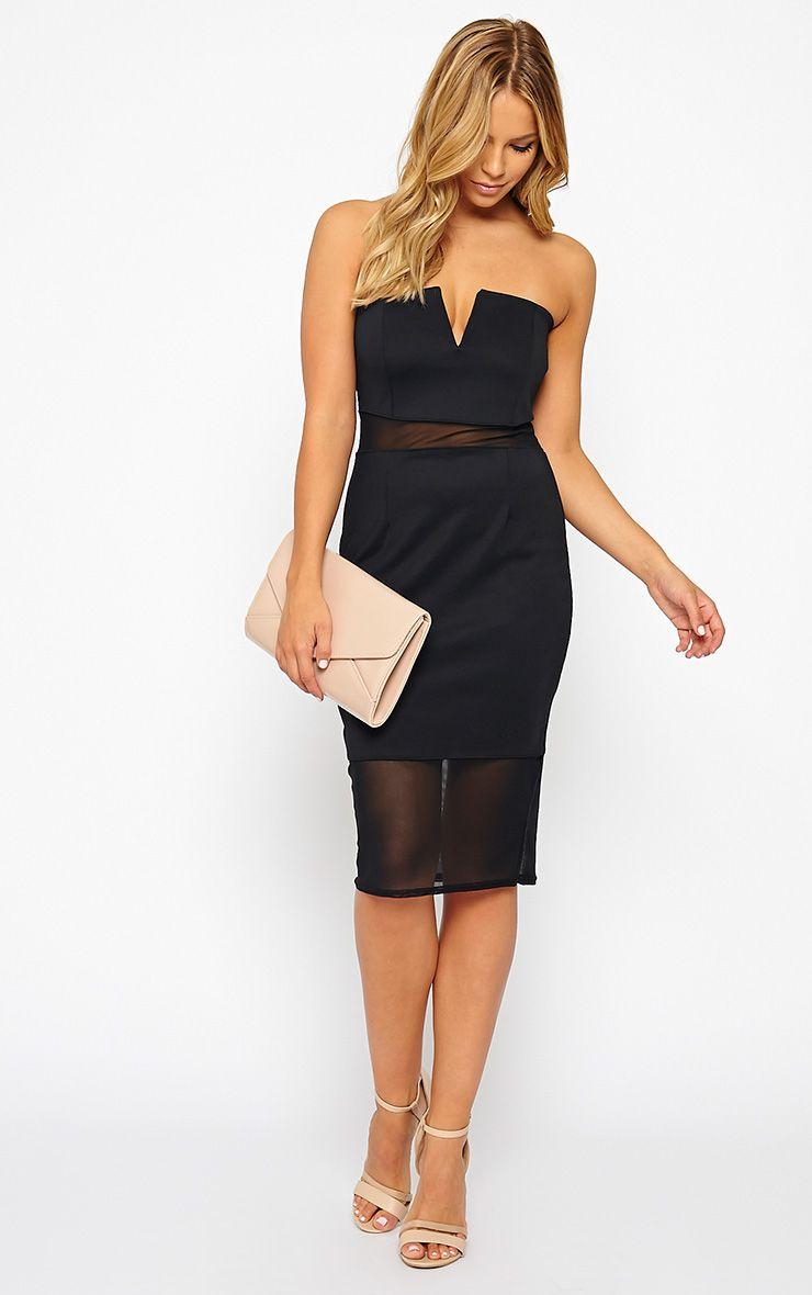 Janelle Black Mesh Bandeau Dress 1