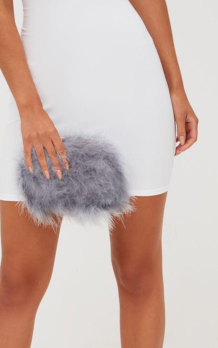 Grey Marabou Feather Clutch Bag