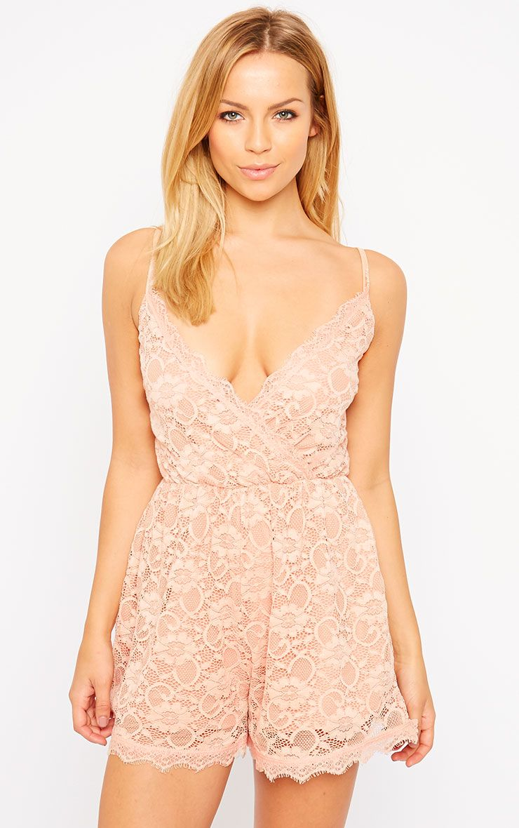 Riva Dusty Pink Lace Wrap Playsuit 1