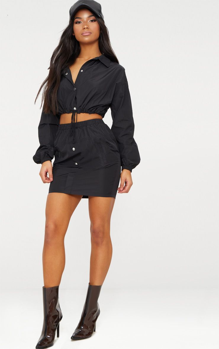 Black Shell Suit Mini Skirt