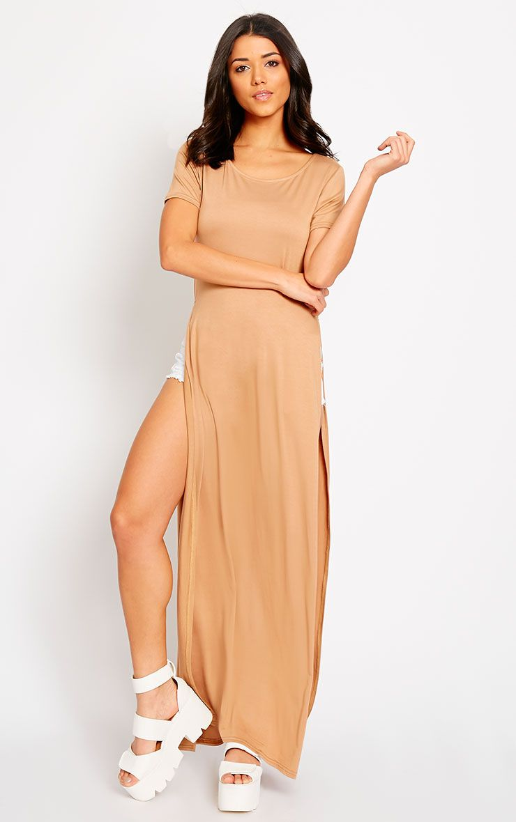 Monte Camel Side Split Maxi Top 1