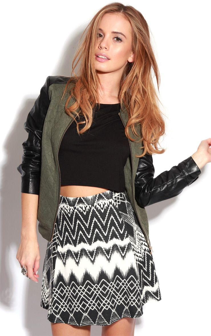 Renita Monochrome Zig Zag Skater Skirt-18 1