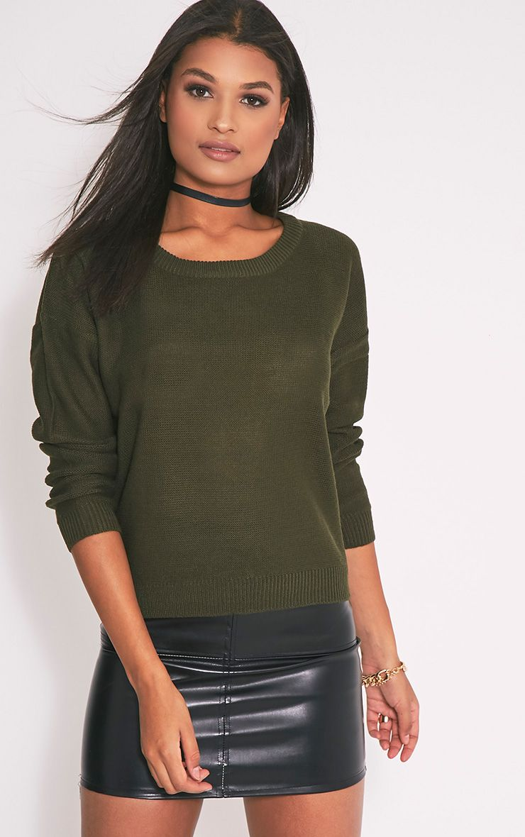 Roberta Khaki Round Neck Knitted Jumper