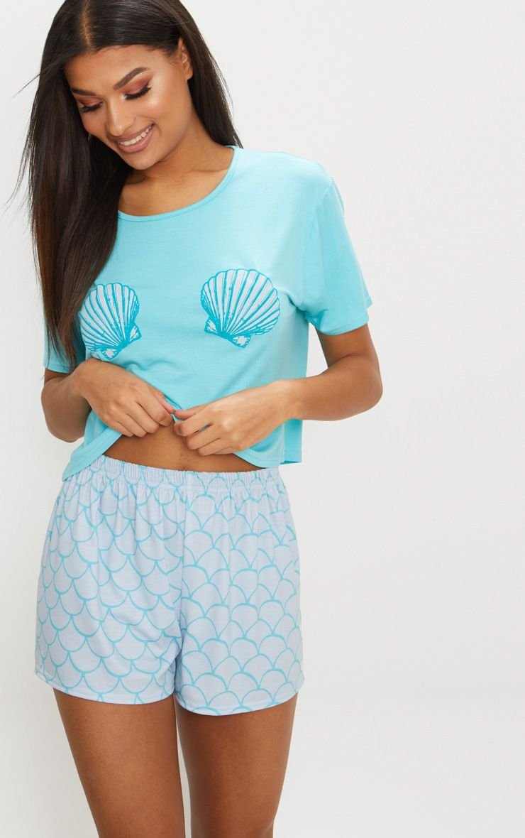 Pale Blue Shell Mermaid Short PJ Set